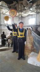 玻璃钢仿铜指路警雕塑交警系列雕塑仿真摆件