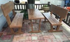 户外水泥仿木靠背桌椅 水泥仿木桌椅