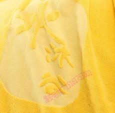 32線耐用全棉黃色不掉毛提標印logo浴巾