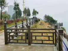 1.8米窗棂护栏水泥艺术围栏景区围栏仿木