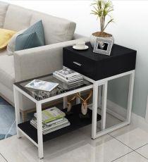 简约现代伸缩边几角沙发边几钢化玻璃茶几