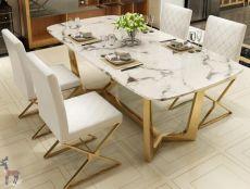 后现代简约创意不锈钢长方形餐桌