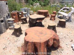 株州公園仿樹皮桌凳 優質仿木坐椅批發