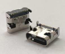16P单排贴片type C母座 大电流快充四脚插板