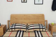 軟裝日式橡木雙人床刺繡背景墻手繪護墻板