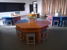 異形空間合肥彩色六邊桌八角桌廠家直銷
