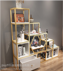 小户型落地书架多功能不锈钢置物架客厅展示