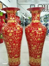 门店摆饰陶瓷大花瓶 中国红陶瓷大花瓶厂家