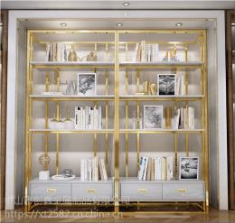港式不锈钢书架 书房展示架 简约现代置物架