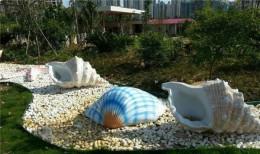 供应碧桂园公园绿地装饰玻璃钢贝壳海螺雕塑