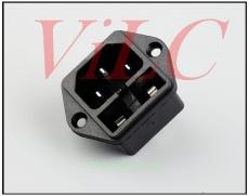 供应AC电源插座HM-14-F/3P插件 带保险 打孔