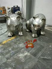 不锈钢镜面熊猫动物雕塑形象逼着活泼可爱