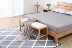 软装北欧风全实木床榻长条现代刺绣手绘