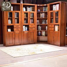 中式書架帶門書櫥9803 胡桃木 組合書柜
