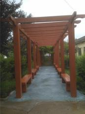 陕西汇美园林仿木廊架桌凳棋盘花箱生产定制