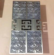 华科制品定做 铝板雕刻酒店大门黄古铜拉手