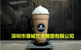 連鎖店門口宣傳玻璃鋼珍珠奶茶杯雕塑價格