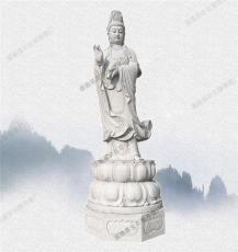 石头雕刻站像洒水观音 汉白玉观世音大士