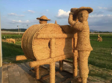 出售仿真绿雕策划 制作稻草人工艺品公司