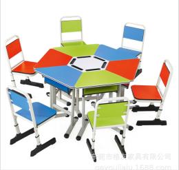 定制六人组合桌椅 高档培训机构学习桌椅
