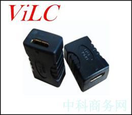 MINI迷你-HDMI母座180度转HDMI母座 F-F黑胶