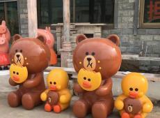 深圳商场开业美陈彩绘玻璃钢卡通熊模型雕塑