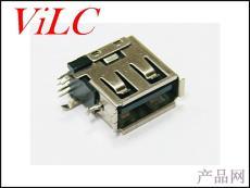 AF 90度 側插短體USB母座 卷邊 有中間腳LCP