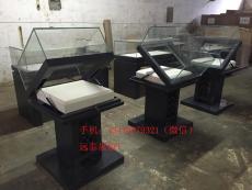 手動掀起式博物館平柜深色超白玻璃桌柜
