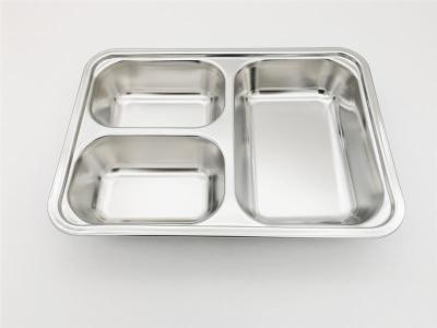 厂价直销304材质幼儿园小三格餐盘 小学生食