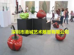 湖南城市积极打造文化游玻璃钢辣椒雕塑
