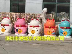 深圳春節商場美陳玻璃鋼招財貓雕塑價格