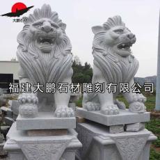 大鹏石雕小狮子青石石狮子摆件 墓地守灵镇