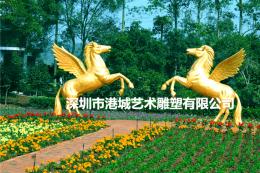 梅州生态园玻璃钢情侣造型飞马雕塑摆件