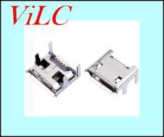 MICRO 5P母座 四脚加长插板 V8直边接口带柱