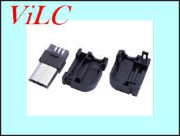 MICRO 5P公头 双面焊线式三件式安卓V8插头