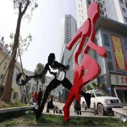广场体育主题玻璃钢抽象跑步剪影运动人雕塑