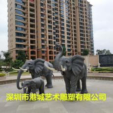 风水招?#21697;?#30495;大象雕塑玻璃纤维动物摆件