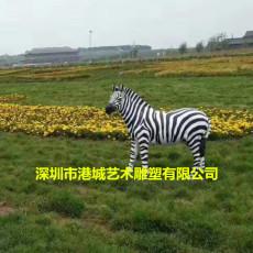 供应草场地装饰仿真动物玻璃钢斑马雕塑