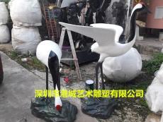 供应池塘绿化装饰玻璃钢仿真仙鹤雕塑摆件