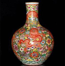 清粉彩繁花天球瓶去哪里拍卖可靠