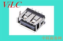 A母USB短体10.6母座-贴板SMT插脚卷边充电