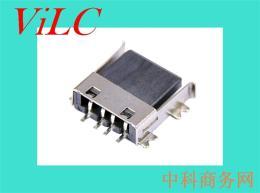 供应A母平贴-USB母座-90度SMT全贴 黑胶LCP
