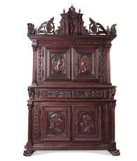 0742 18世紀末 意大利核桃木雕四季人物柜