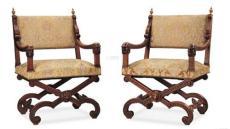 0734 19世纪中 奥地利核桃木扶手椅