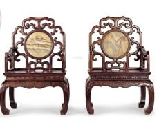 0720 清 紅木鑲云石太師椅 (一對)