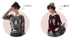 秋冬韩版印花圆领套头毛衣大码女打底针织衫