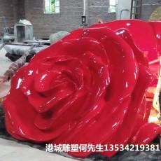 户外玻璃钢仿真玫瑰花雕塑制作厂家
