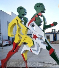 装饰艺术不锈钢剪影人物雕塑 户外运动人剪