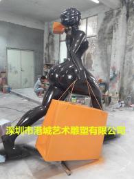 欧美玻璃钢女士购物抽象人物雕塑定制厂家
