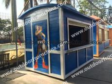迪士尼风格游乐场移动售卖亭卡通定制实木售